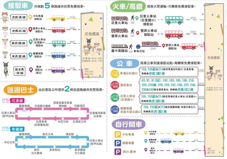 2017台中花毯節│后里花田綠廊免費接駁車資訊