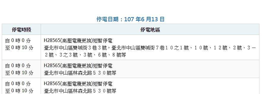 2018 06 14 121141 - 台北市計畫性工作停電公告│時間為6月13日至6月26日