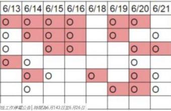 台北市計畫性工作停電公告│時間為6月13日至6月26日